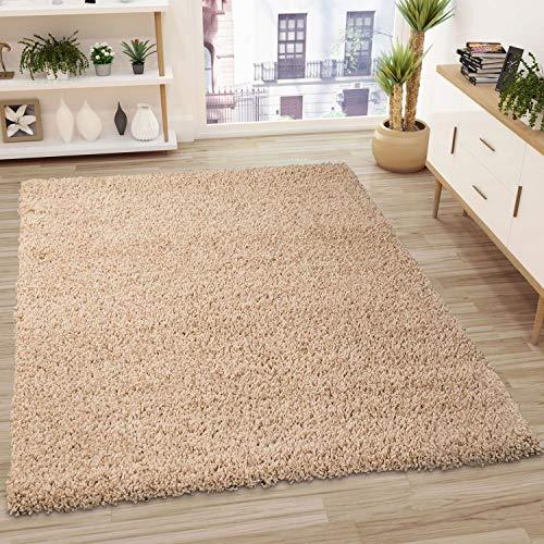 VIMODA Prime Shaggy Teppich in Beige Hochflor Langflor Teppiche Modern, Maße:40x60 cm