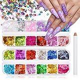 Kalolary 24 Colores letra Lentejuelas Uñas Decoración Purpurinas Confeti Uñas Nail Art Glitter Brillos para Manicura y Diseños de Uñas
