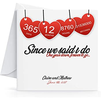 Personalised 1st Wedding Anniversary Card Printed Hearts For Wife Or Husband Amazon Co Uk Office Products