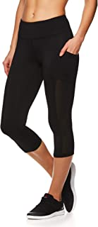 Reebok Women's Capri Workout Leggings w/Mid-Rise Waist - Cropped Performance Compression Tights - Focus Black, Medium