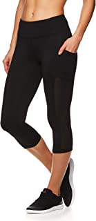 Women's Capri Workout Leggings w/Mid-Rise Waist - Cropped Performance Compression Tights - Focus Black, Medium