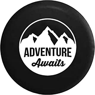 Adventure Awaits Mountain View Spare Tire Cover fits SUV Camper RV Accessories White Ink 32 in