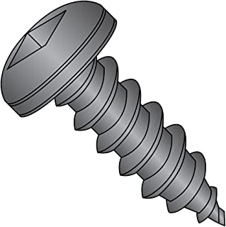 Steel Sheet Metal Screw, Black Oxide Finish, Pan Head, Square Drive, Type A, #6-18 Thread Size, 1/2