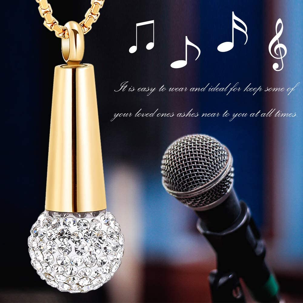 Microphone Cremation Jewelry for Ashes Urn Pendant Necklace with Crystal Stainless Steel Keepsake Memorial Ash Jewelry