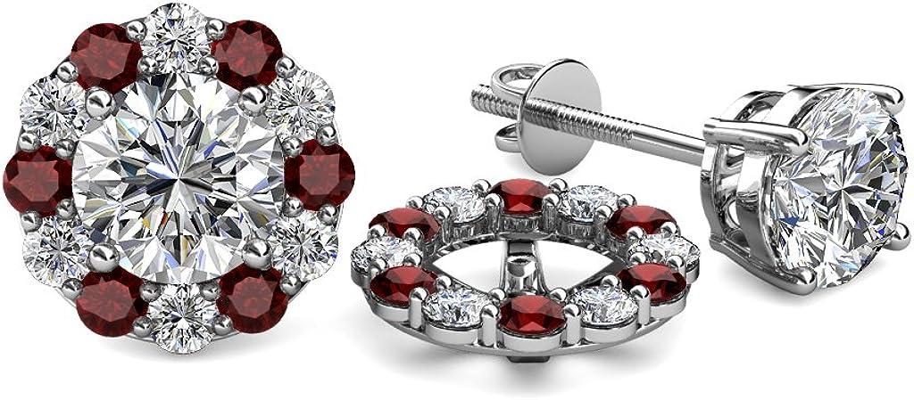 TriJewels Diamond and Red Garnet 0.80 Carat tw Women Halo Jackets for Stud Earrings in 14K White Gold
