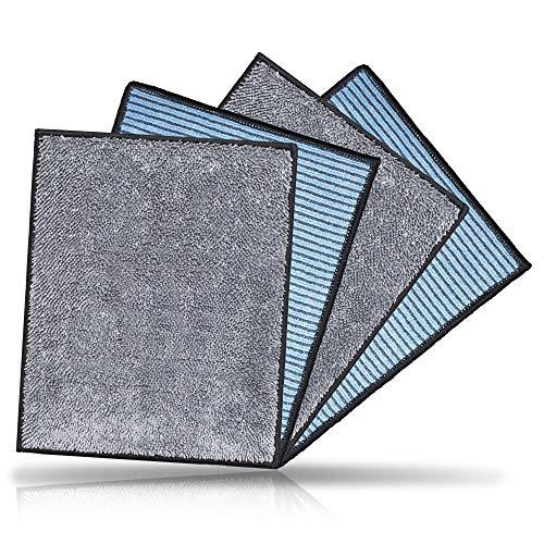 CARBOTEC® 4X Premium Carbon Microfaser Spültücher – 20x23cm – Mikrofaser-Spültuch für streifenfreie Reinigung von Geschirr & Oberflächen – Spülschwamm & Putztuch für Küche & Haushalt