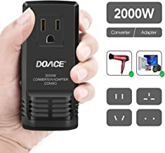 DOACE C8 2000W Travel Voltage Converter 220V to 110V for Hair Dryer Steam Iron, 8A Power Adapter with All in One UK/AU/US/EU Worldwide Plug Wall Charger for Laptop MacBook Camera Cell Phone