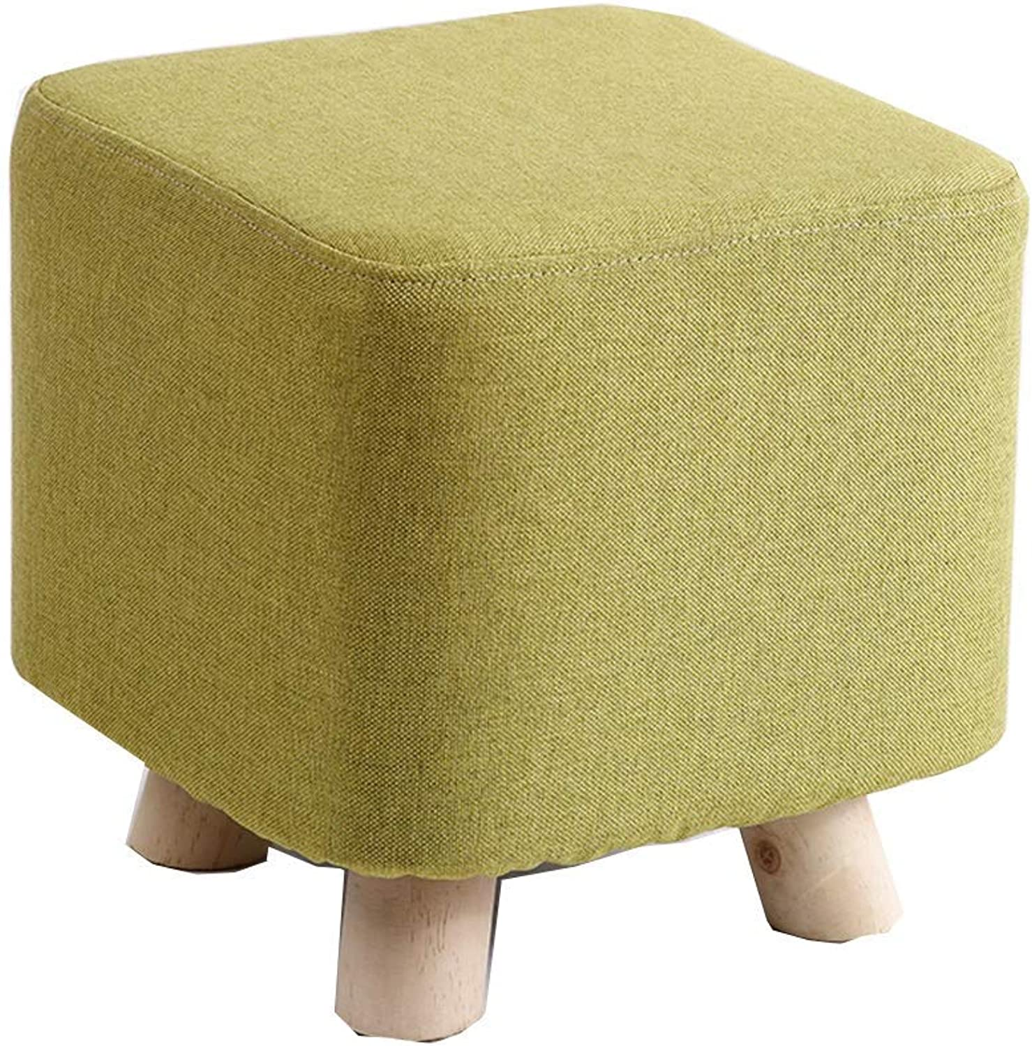ChenDz Cute Stool Cloth Stool Fashion Modern Small Bench Coffee Table Stool Home Creative Stool Living Room Adult Solid Wood Sofa Stool for Living Room Corridor Green