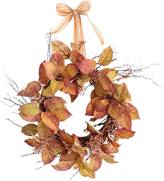 SUNNAIYUAN Simulation Red Leaf Wreath Door Wall Hanging Autumn Window Decoration 33cm