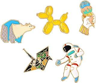 B Baosity 5 Pezzi Spilla Pin Astronauta Orso Marino Gelato Cane Salsiccia Gru Carta per Unisex