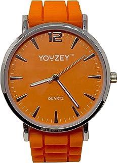 Round Watch with Orange Face, Silver Trim, Orange Silicone Strap, Minimalist