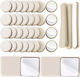 Liyic 40Combo Pack Self-Stick Carpet Gliders for Chair-32PCS 1-1/4inch Self Adhesive Furniture Glides,4PCS 2.5in. Square Furniture Gliders&4PCS 1/2
