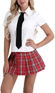 Oyolan Womens Schoolgirls Cosplay Uniform Outfits Short Sleeves Tie Shirts Plaid Pleated Mini Skirts