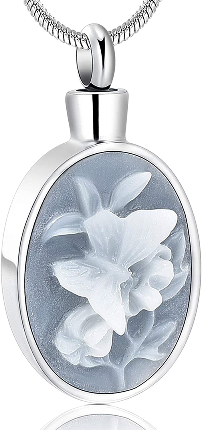 zeqingjw Butterfly Cremation Jewelry for Ashes Memorial Lockets Urn Necklace for Ashes Pendants Stainless Steel Keepsake Jewelry for Ashes