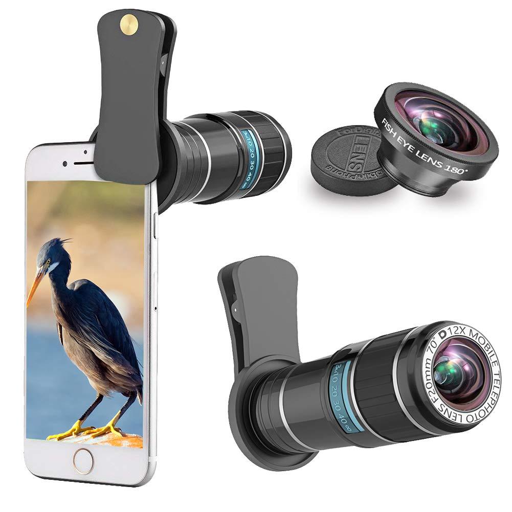 ARORY Teléfono Lente de la cámara Kit 12X teleobjetivo Lente + Ojo de pez Compatible para iPhone X / 8 7 Plus / 6S Samsung Galaxy Huawei Android Smartphone: Amazon.es: Electrónica