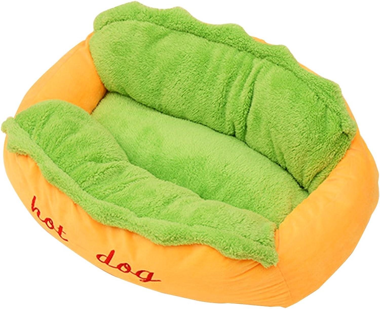 BLJRGS Creative Hot Dog Design Warm Sofa Rectangular Kennel Pet Bed Removable Puppy Mat Cat Cushion 59x50x23cm