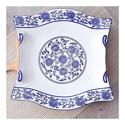 shiy 10/12 Pulgadas Porcelana Azul y Blanca de cerámica Cena Platos de Ensalada de Frutas Torta de alimento de la Placa Plato Postre Restaurante Bandeja vajilla casero vajilla Porcelana