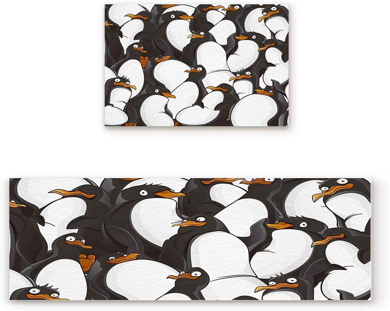 Libaoge Non-Skid Slip Rubber Backing Kitchen Mat Runner Area Rug Doormat Set, Penguin Doormats, Black and White Animal Pattern Carpet Indoor Floor Mats Door 2 Packs, 15.7 x23.6 +15.7 x47.2