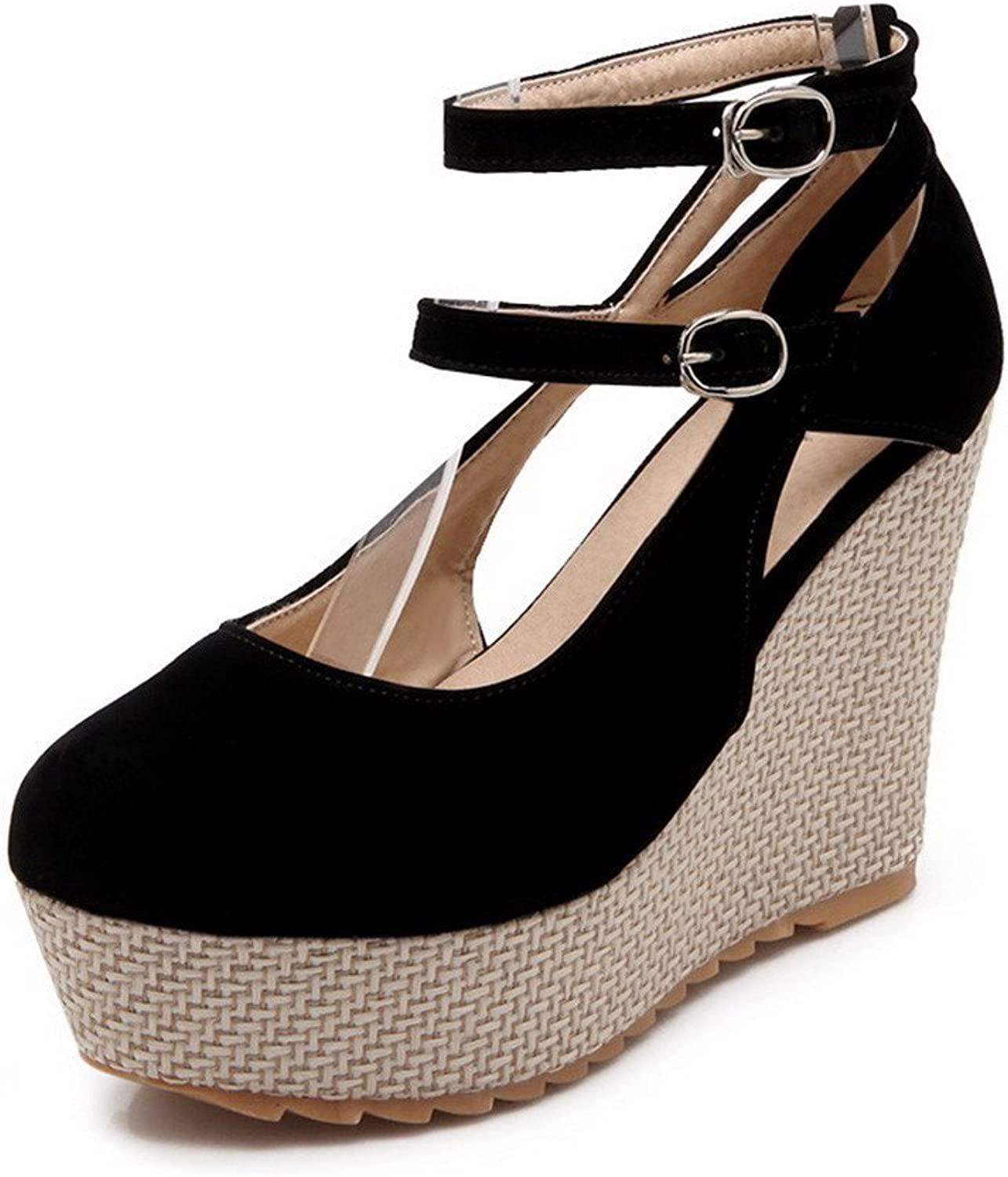 AllhqFashion Women's Buckle Round Closed Toe High Heels Frosted Solid Pumps-shoes