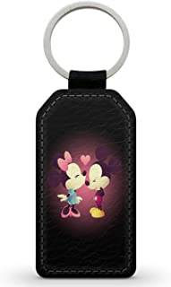 Keychain Key Ring llavero Accessory Faux-Leather Mickey Minnie Love Disney Kiss Bisou