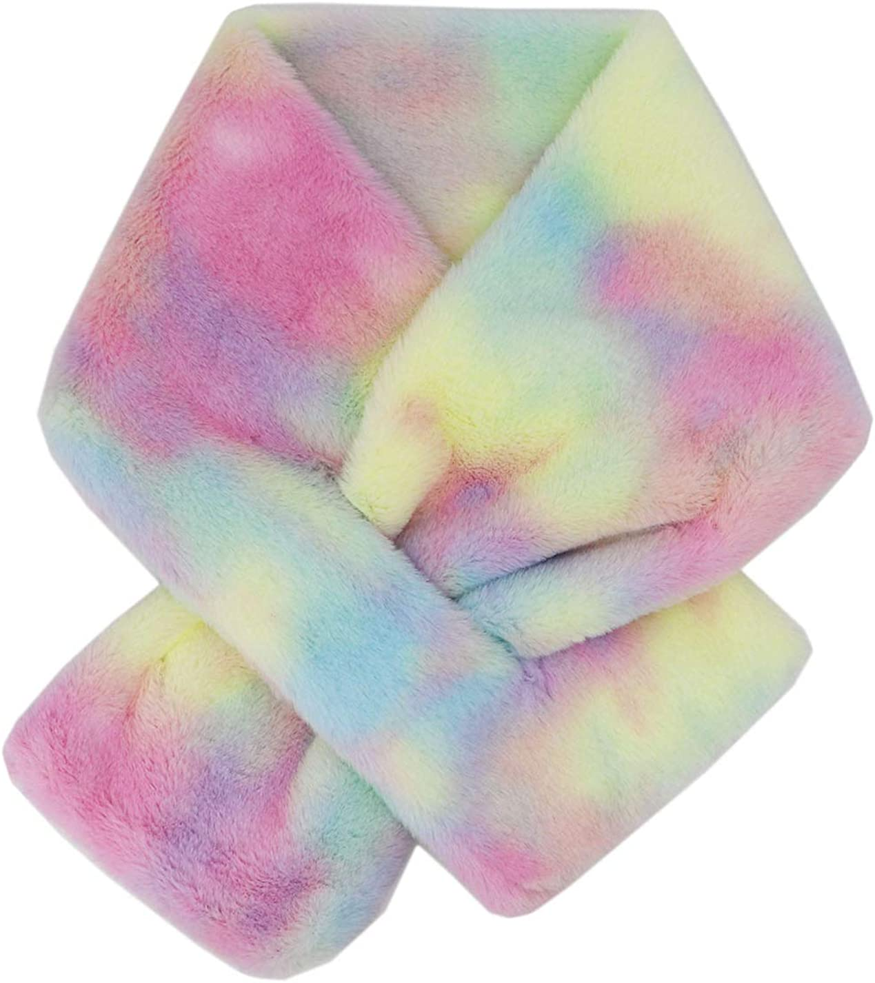 Kids Winter OFFer Rainbow Scarf Gradient Cross Collar Clearance SALE! Limited time! Tie Fur P Fluffy