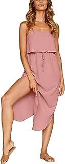 Women's Adjustable Spaghetti Straps Sundress Irregular Hem Split Slip Dress Sleeveless Summer Beach Midi Dress