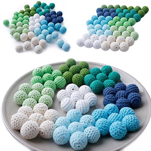 80pcs elegante hecha a mano de 20 mm Perlas de ganchillo color de la mezcla de punto disponibles Por joyería DIY del hilo de algodón para bebés Hacer Teether Juguetes
