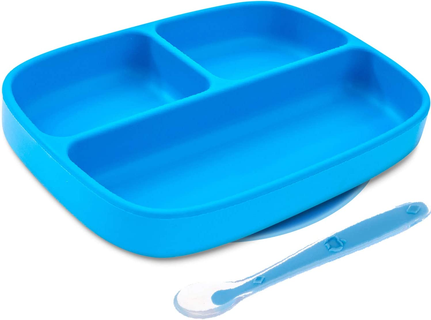 Silikong Suction Plate for Toddlers + Silicone Spoon | Microwave, Dishwasher and Oven Safe | Stay Put Divided Baby Feeding Bowls and Dishes for Kids and Infants