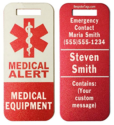 Medical Alert Tag'Medical Equipment' - Customized Engraved Info (Red)