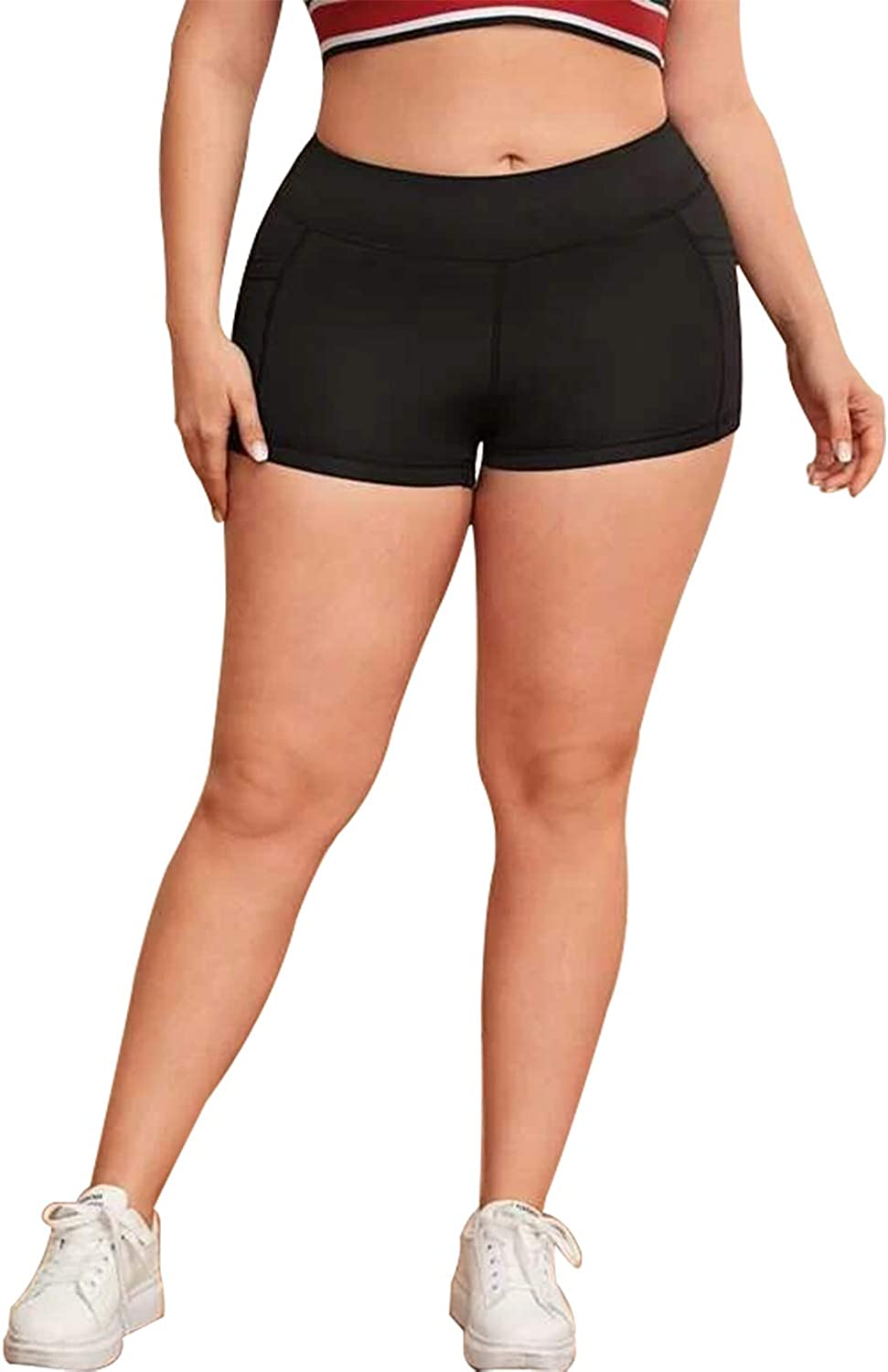 B.BANG Women's Comfy Plus-Size Athletic Shorts with Side Pockets Running Workout Shorts for Women