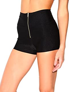 iHeartRaves Women's High Waisted Solid Booty Shorts Rave Festival Bottoms