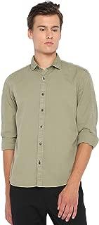BASICS Casual SELF Green 100% Cotton Slim Shirt