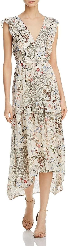 WAYF Womens Primpink Floral Ladder Stitch Casual Dress Ivory M