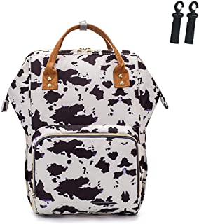 Lequeen Animal Cartoon Baby Diaper Backpack with Stroller Straps Large Capacity Waterproof Baby Bags for Fashion Mommy Maternity Nappy Bag,Cow Grain