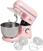 Bestron Küchenmaschine im Retro Design mit Schneebesen, Knethaken und Rührarm, Sweet Dreams, 1000 Watt, Rosa