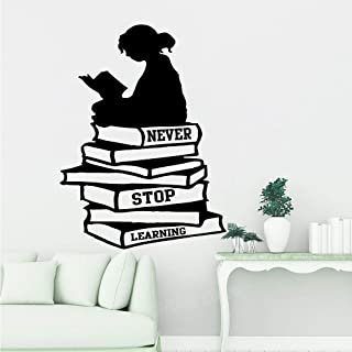 Wall StickerGirl Reading Books Never Stop Learning Quote Wall Decal Library School Book Inspirational Quote Education Art 56X42CM