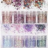 Skymore Paillettes de Maquillage, Lot de Poudre Pailletée, Scintillante et Brillante pour les Ongles et le Maquillage, 8 Mélanges de Couleurs