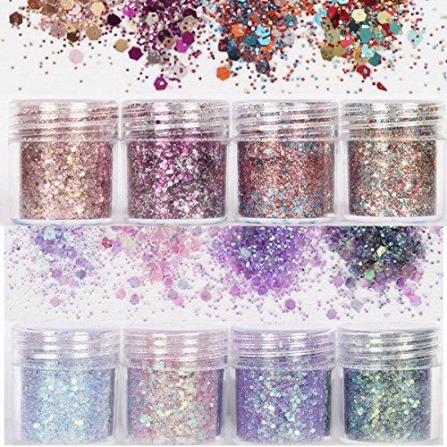 Skymore Set di polvere glitter per unghie, lustrini 3D per manicure, nail art, ricostruzione unghie, make up, 8 colori assortiti