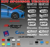 Multiart Design Kit Sponsor Tecnici Adesivi Tuning Stickers Auto da Corsa Loghi Racing Moto (Bianco)