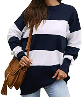 OTW Women Long Sleeve Tops Casual Pullover Loose Colorblock Tee Shirts Blouse Top