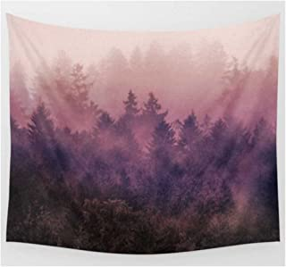 KRWHTS Landscape Nature Scenery Wall Art Home Decor, Mysterious Tree Forest on Fog Mountain Tapestry Wall Hanging150130cm(60