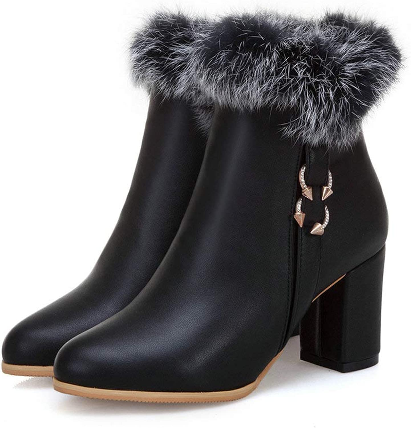 AnMengXinLing Fashion Ankle Boot Women Block High Heel Trend Rhinestone Faux Leather Round Toe Fur Lining Snow Booties Winter White Black Plus Size