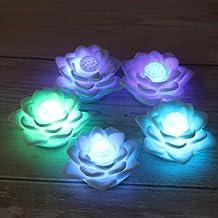 OSALADI 5pcs Lotus Candle Light LED Lotus Lantern Colorful Wax Candle Lily Light Electronic Candle Flower Lanterns for Fes...