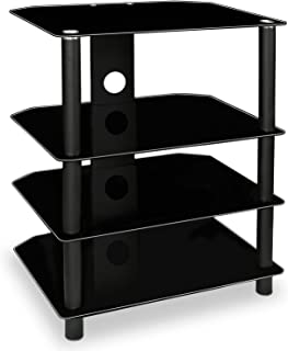 Mount-It! AV Component Media Stand, Audio Tower and Media Center with 4 Tempered Glass Shelves, 88 Lbs Capacity, Black Silk (MI-867)