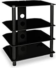 Mount-It! TV Media Stand, Glass Shelves, Audio Video Components, Storage for Xbox, Playstation, Laptop, Speakers, Cable Bo...