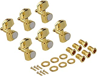 Kmise Electric Guitar Tuning Pegs Tuners Keys Machine Heads for Acoustic Parts Replacement 6 R Inline Gold Closed Gear (6 ...