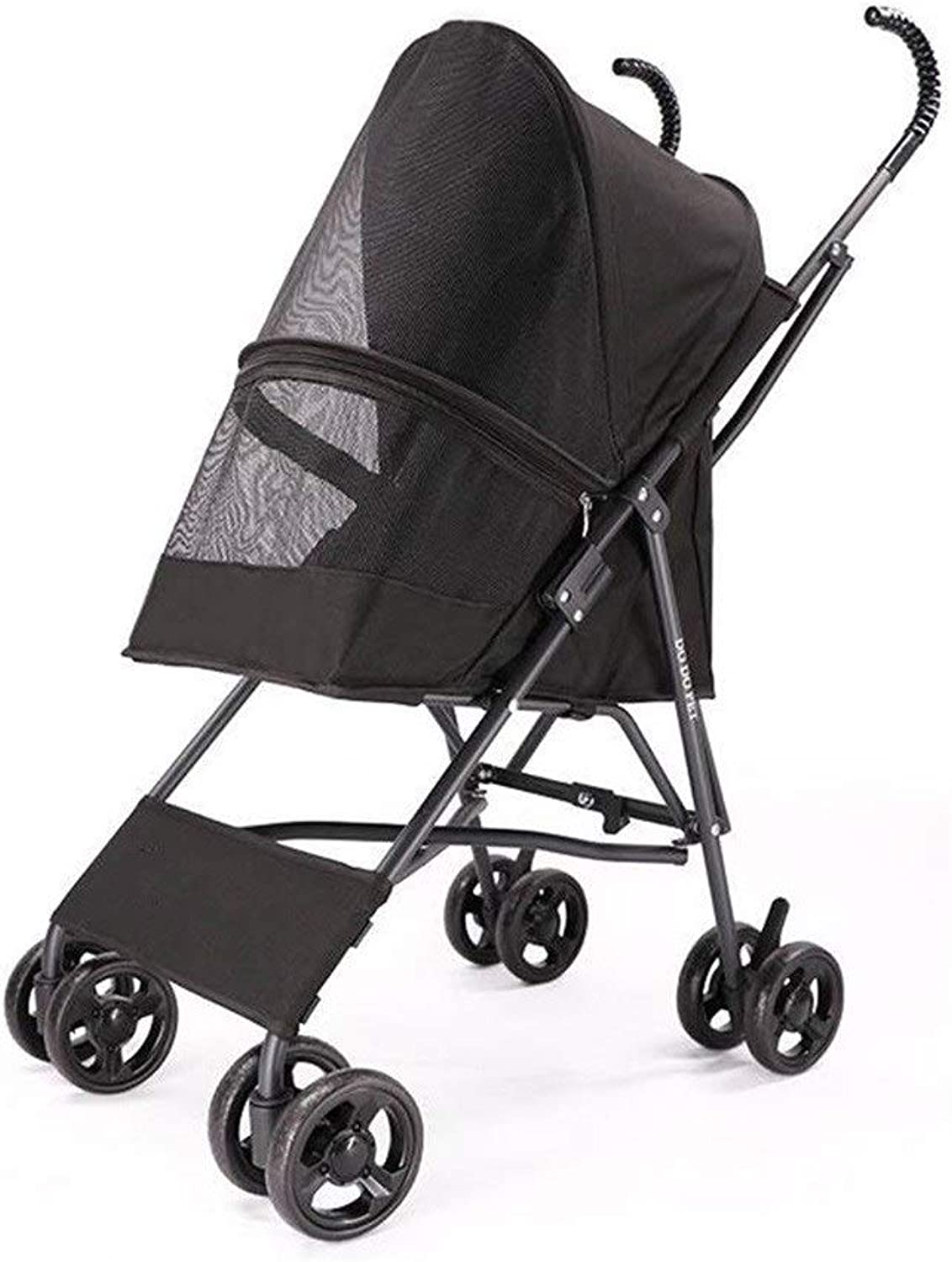 RYAN Dog Pushsedia, Passeller Pram Carrier Pet Trolley Piegature 4wheel Cat Teddy Cart Cage portabagagli Lightweight for Small Disabled Dogs (colore: Black)
