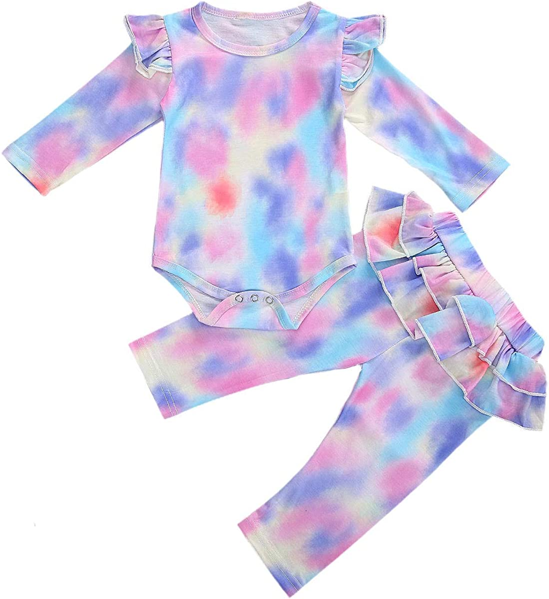 Newborn Baby Girl Outfit Long Sleeve Romper Bodysuit Ruffle Pants Tie Dye Clothes Fall Winter Clothes 2PCS Outfits Set (Purple, 3-6 Months)