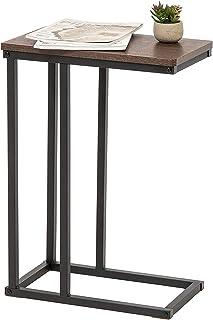 Marca Amazon - Movian Mesa auxiliar  Extremo del sofá  Mobile mesita de noche de madera MDF y metal - C-Shape Side Table...