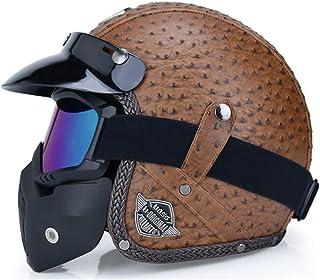 Casco Mezzo Viso Moto Moto Nero Beige con Visiera Parasole Occhiali Cool Birdlantern Casco